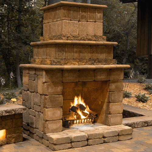 Gallery For gt Outdoor Brick Fireplace Round