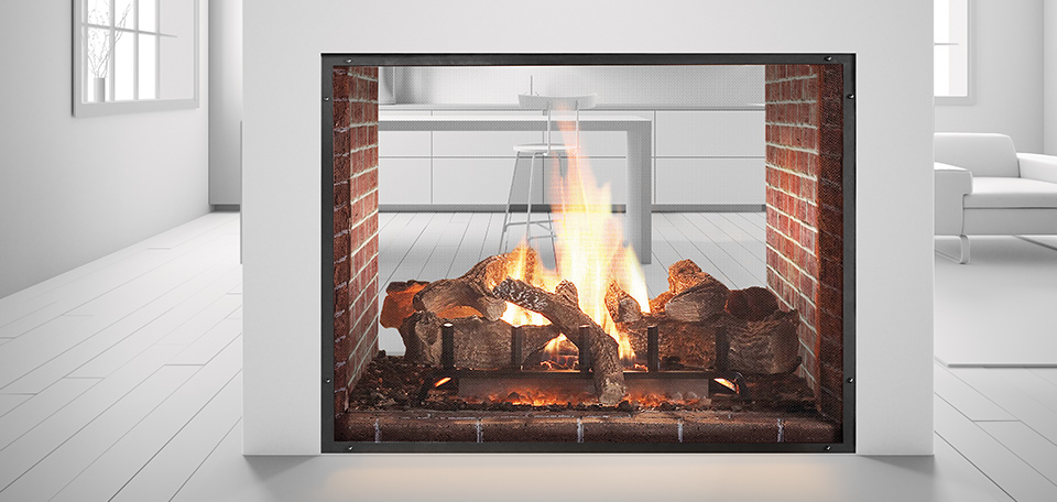 Project photos gagnon clay products for Double sided fireplace price